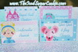 "If your're throwing a Cinderella Birthday Party then you will love these ""DIY Printable Cinderella Birthday Party Food Label Tent Cards"" that we created. What the food tent cards say: Cinderella Punch,Carriages, Gus Gus & Jaq Cheese, Royal Ball Cookies, Even Miracles Take A Little Time, Pumpkin Carriage Dip, Dreams Come True, Glass Slippers, Cinderella-(on 4 food cards), Cinderella Cakes, Cinderella Cookies, Take One, Princess Food, Cinderella Fruit Bowls, Royal Snacks, Mice Bars, Castles, Cinderella Sandwiches, Cinderella Chips, Mice Dip, Cinderella Drinks, Blank- 12 blank food cards to write or type your own words. Just open your JPEG in photoshop or a Paint to type."