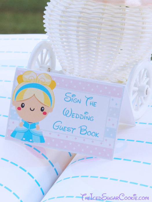 Cinderella Wedding Label Tent Cards-Printable Digital Download By The Iced Sugar Cookie- Sign The Wedding Guest Book-Fairy Tale Table Decorations