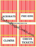 DIY Printable Circus Food Label Tent Cards Digital Download  by The Iced Sugar Cookie.What You Will Get In Your ZIP FILE JPEG Digital Download: 1. Blank Food Cards- (to write or type your own words) 2. Food Cards with these words-Cake, Cupcakes, Take One, Take One 3. Food Cards with these words-Circus Peanuts, Peanuts, Popcorn, Cotton Candy 4. Food Cards with these words- Circus Cookies, Monkey Munch, Clown Cakes, Clown Noses 5. Food Cards With These Words- Games, Gifts, ? , Make A Guess 6. Food Cards With These Words- Guess How Many Monkeys, Guess How Many?, Guess How Many Peanuts, Guess How Many Clown Noses 7. Food Cards With These Words- Ice Cream, Cherries, Sprinkles, Whip Cream 8. Food Cards With These Words- Lemonade, Soda, Circus Juice, Drinks 9. Food Cards With These Words- Lion Snacks, Clown Snacks, Elephant Snacks, Monkey Snacks 10. Food Cards With These Words- Nachos, Funnel Cakes, Caramel Popcorn, Candy Apples 11.Food Cards With These Words-Nuts, Walnuts, Peanuts, Cashews 12.Food Cards With These Words-Acrobats, Fire Ring, Clowns, Circus Tickets 13. Food Cards With These Words-Hot Dogs, Burgers, Corn Dogs, Cheese Burgers To make these circus food cards that you see in the pictures just print the food card template out on white card stock on your printer. Then cut them out and fold in half and just prop up next to the food item on the table. It's that simple!!! Cake Cupcakes Take One