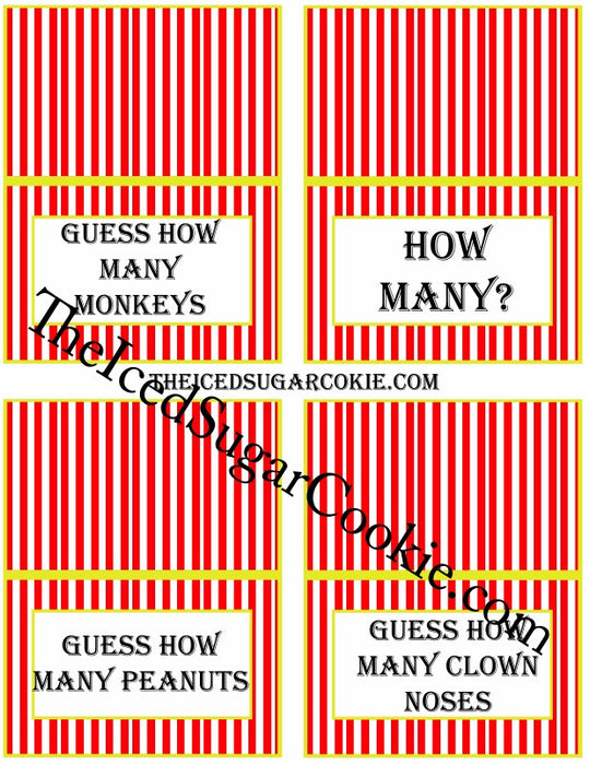 picture regarding Guess Who Cards Printable named Printable Circus Foods Label Playing cards Electronic Obtain