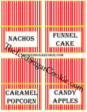 DIY Printable Circus Food Label Tent Cards Digital Download  by The Iced Sugar Cookie.What You Will Get In Your ZIP FILE JPEG Digital Download: 1. Blank Food Cards- (to write or type your own words) 2. Food Cards with these words-Cake, Cupcakes, Take One, Take One 3. Food Cards with these words-Circus Peanuts, Peanuts, Popcorn, Cotton Candy 4. Food Cards with these words- Circus Cookies, Monkey Munch, Clown Cakes, Clown Noses 5. Food Cards With These Words- Games, Gifts, ? , Make A Guess 6. Food Cards With These Words- Guess How Many Monkeys, Guess How Many?, Guess How Many Peanuts, Guess How Many Clown Noses 7. Food Cards With These Words- Ice Cream, Cherries, Sprinkles, Whip Cream 8. Food Cards With These Words- Lemonade, Soda, Circus Juice, Drinks 9. Food Cards With These Words- Lion Snacks, Clown Snacks, Elephant Snacks, Monkey Snacks 10. Food Cards With These Words- Nachos, Funnel Cakes, Caramel Popcorn, Candy Apples 11.Food Cards With These Words-Nuts, Walnuts, Peanuts, Cashews 12.Food Cards With These Words-Acrobats, Fire Ring, Clowns, Circus Tickets 13. Food Cards With These Words-Hot Dogs, Burgers, Corn Dogs, Cheese Burgers To make these circus food cards that you see in the pictures just print the food card template out on white card stock on your printer. Then cut them out and fold in half and just prop up next to the food item on the table. It's that simple!!!