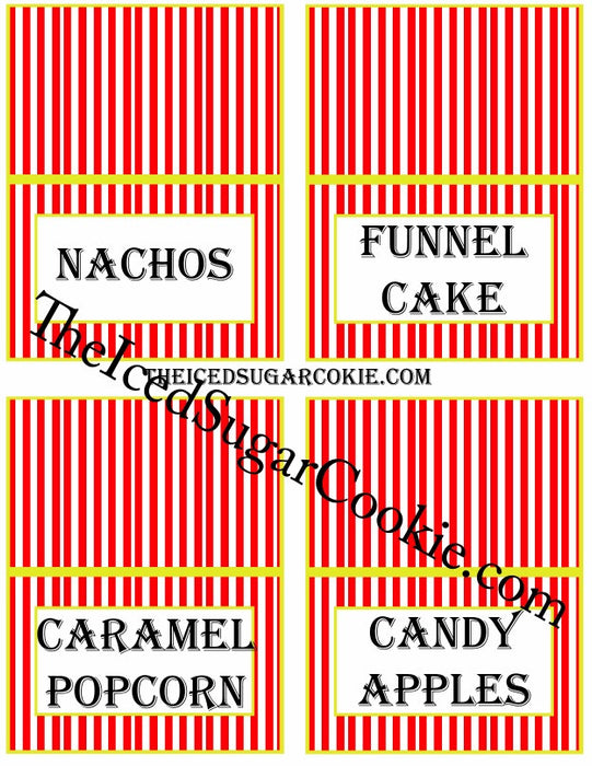 photograph about Apples to Apples Cards Printable titled Printable Circus Meals Label Playing cards Electronic Obtain