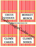 DIY Printable Circus Food Label Tent Cards Digital Download  by The Iced Sugar Cookie.What You Will Get In Your ZIP FILE JPEG Digital Download: 1. Blank Food Cards- (to write or type your own words) 2. Food Cards with these words-Cake, Cupcakes, Take One, Take One 3. Food Cards with these words-Circus Peanuts, Peanuts, Popcorn, Cotton Candy 4. Food Cards with these words- Circus Cookies, Monkey Munch, Clown Cakes, Clown Noses 5. Food Cards With These Words- Games, Gifts, ? , Make A Guess 6. Food Cards With These Words- Guess How Many Monkeys, Guess How Many?, Guess How Many Peanuts, Guess How Many Clown Noses 7. Food Cards With These Words- Ice Cream, Cherries, Sprinkles, Whip Cream 8. Food Cards With These Words- Lemonade, Soda, Circus Juice, Drinks 9. Food Cards With These Words- Lion Snacks, Clown Snacks, Elephant Snacks, Monkey Snacks 10. Food Cards With These Words- Nachos, Funnel Cakes, Caramel Popcorn, Candy Apples 11.Food Cards With These Words-Nuts, Walnuts, Peanuts, Cashews 12.Food Cards With These Words-Acrobats, Fire Ring, Clowns, Circus Tickets 13. Food Cards With These Words-Hot Dogs, Burgers, Corn Dogs, Cheese Burgers To make these circus food cards that you see in the pictures just print the food card template out on white card stock on your printer. Then cut them out and fold in half and just prop up next to the food item on the table. It's that simple!!! Circus Cookies, Monkey Munch, Clown Cakes, Clown Noses