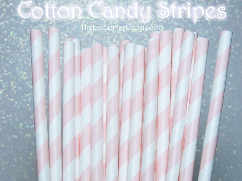 Cotton Candy Stripes Paper Straws-Pink and White Paper Straws TheIcedSugarCookie.com Cotton Candy Birthday Party Supplies
