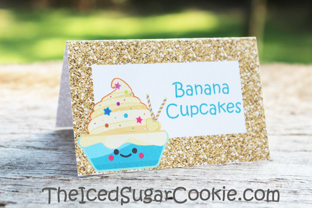 Cupcake Birthday Party Food Cards