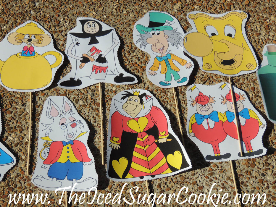 Alice In Wonderland Photo Booth Props, Bunting Banner and Food Labels Tent Cards.