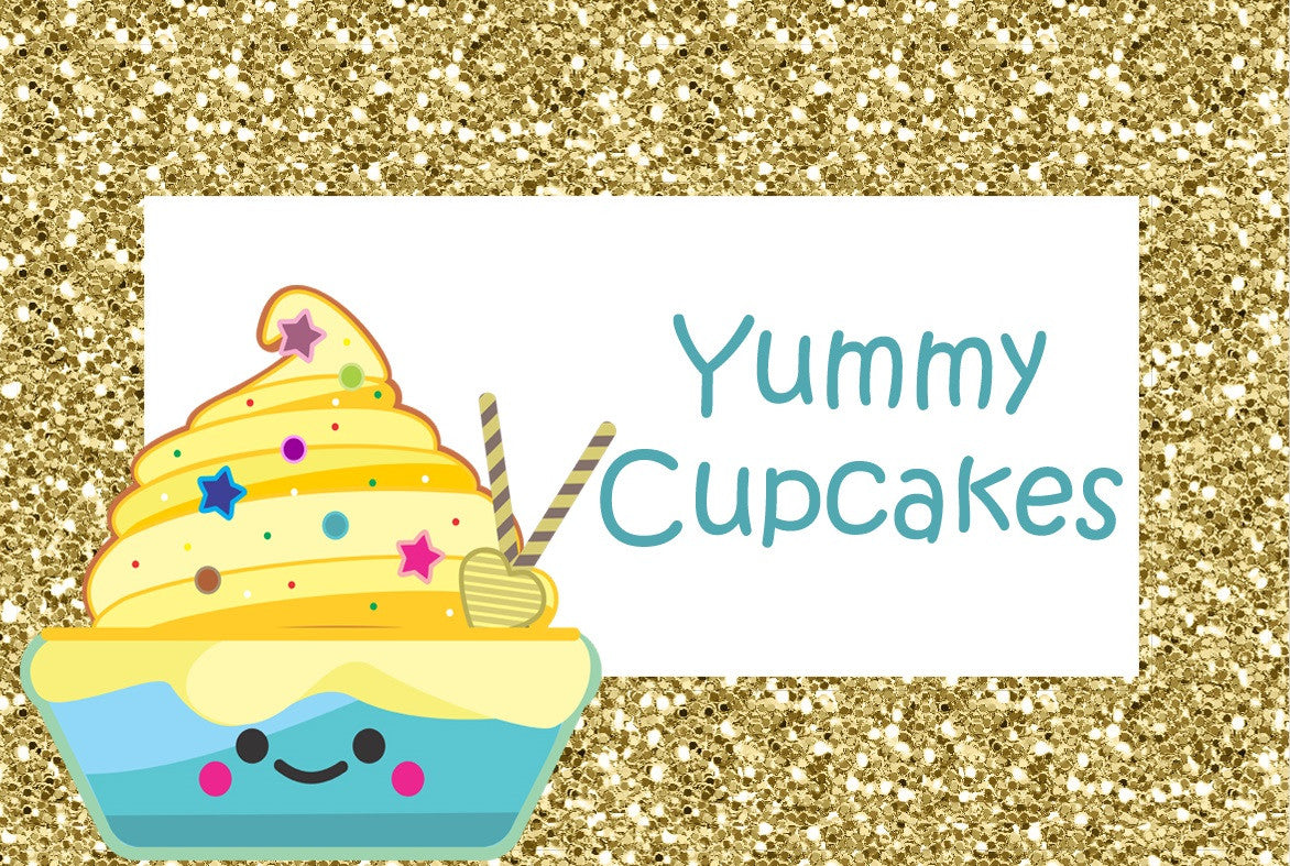 Gold Glitter Cupcake Birthday Party Food Label Tent Cards Printable Template Cutout DIY Yummy Cupcakes, Lemon Cupcakes, Banana Cupcakes, Cupcake Shoppe The Iced Sugar Cookie