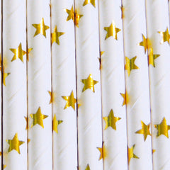 Gold Star Unicorn Straws-PKG of 25