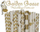 Golden Goose Drinking Paper Straws Birthday Party Wedding Bridal Baby Shower DIY Supplies Matte Gold