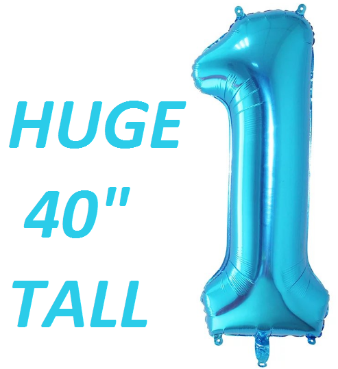 Blue Number One Balloon Huge Giant First Birthday Parties 40 inch-TheIcedSugarCookie.com