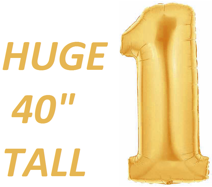 Gold Number One Balloon-HUGE 40 Inch