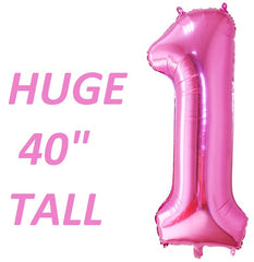 Pink Number One balloon for first birthday parties huge giant 40 inch