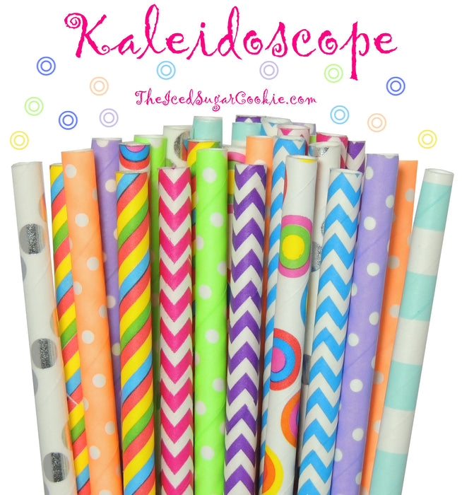 Kaleidoscope Drinking Paper Straws Circus Rainbow Colorful Birthday Party DIY Supplies