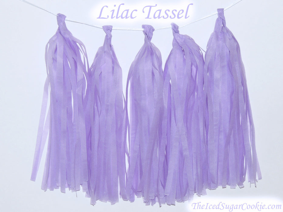 Lilac Purple Lavender Tissue Paper Tassel Birthday Party Garland DIY TheIcedSugarCookie.com