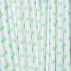 Lime Dots Paper Straws-PKG of 25
