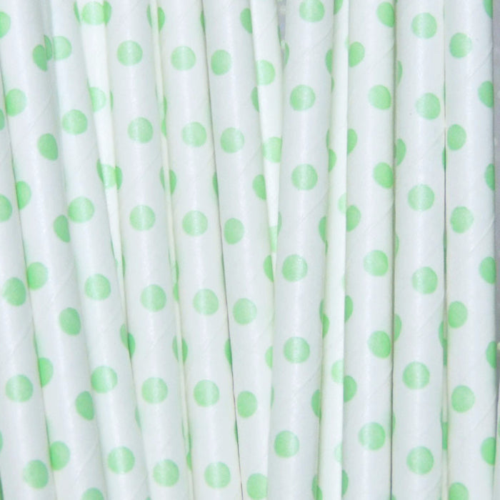Lime Green Dots Paper Straws TheIcedSugarCookie.com