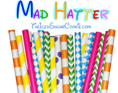 Mad Hatter Alice In Wonderland Paper Straws Birthday Party Paper Straws Mad Hatter TheIcedSugarCookie.com