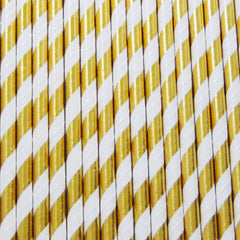 Magical Mermaid Gold Foil Stripe Straws-PKG of 25