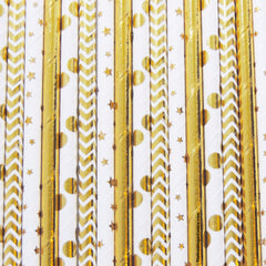 Package of 25 paper straws in our mix that consists of 4 different patterns.