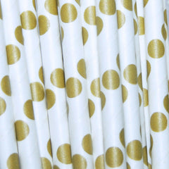 Matte Mermaid Gold Dots Paper Straws-PKG of 25
