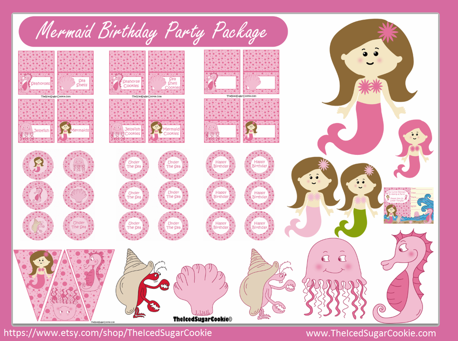 Mermaid Birthday Party Printables | Digital Downloads TheIcedSugarCookie.com #mermaidprintables #mermaidbirthdaydparty #mermaidparty #mermaidprintables #theicedsugarcookie