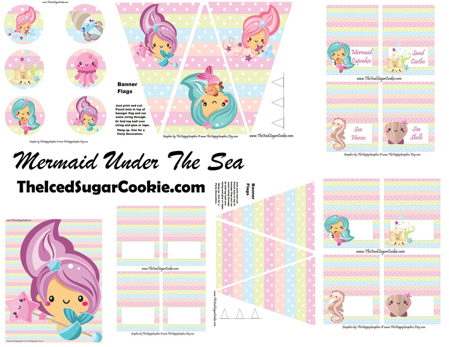 image regarding Mermaid Templates Printable titled Mermaid Birthday Bash Printables Electronic Down load