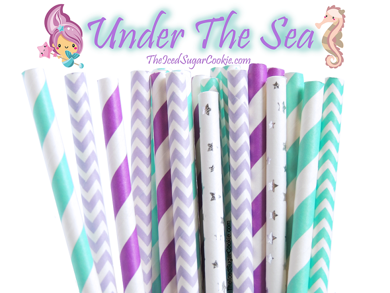 Mermaid Under The Sea Paper Straws by TheIcedSugarCookie.com #mermaidstraws #mermaidparty #undertheseaparty #paperstraws #mermaidbirthday #theicedsugarcookie
