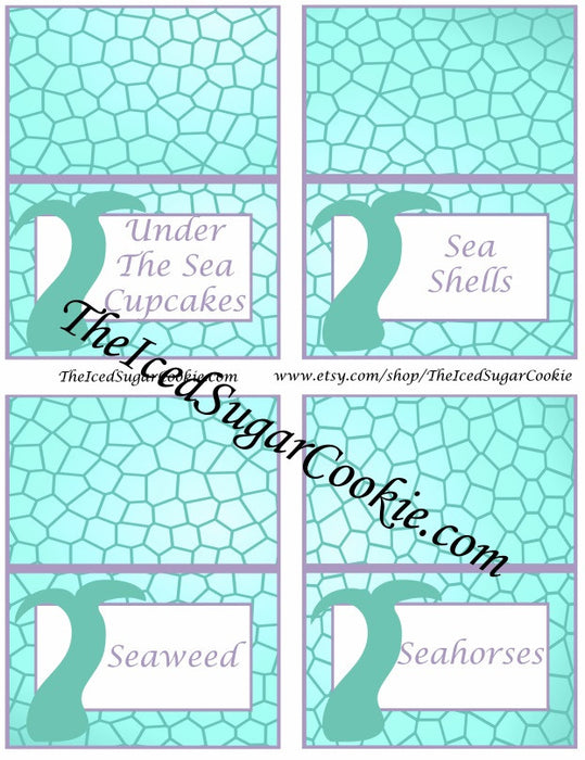 image regarding Free Printable Food Labels for Party identified as Printable Pink Aqua Mermaid Food items Label Playing cards Electronic Obtain