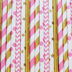 Mermaid Pink And Gold Straws-PKG of 25