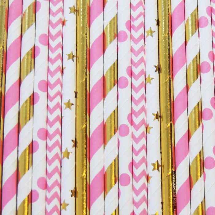 Mermaid Pink And Gold Straws-Party Straws-Under The Sea Party Straws TheIcedSugarCookie.com