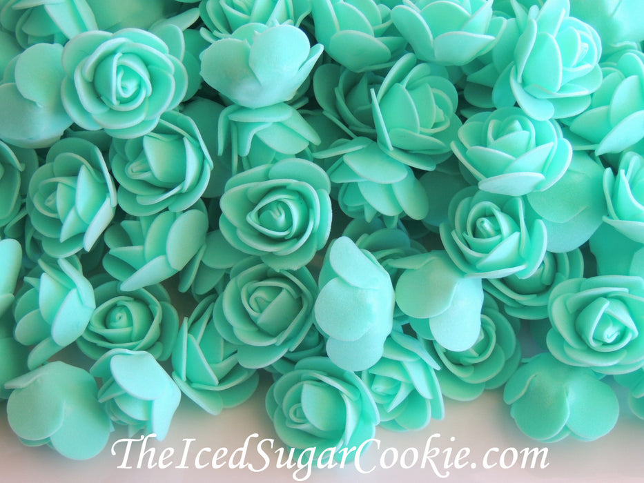 Aqua Mermaid Under The Sea Foam Flower Roses Table Decor TheIcedSugarCookie.com