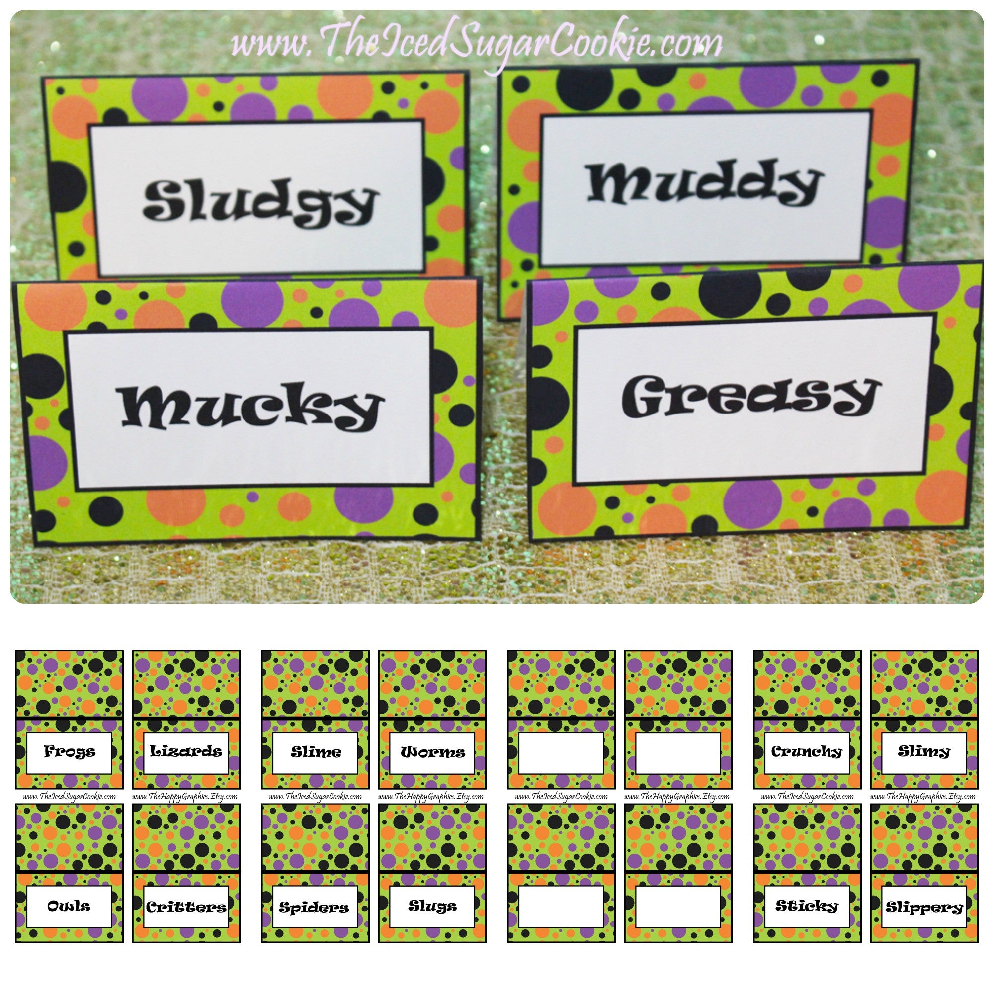 Monster Mash Halloween Birthday Party Food Label Tent Cards DIY
