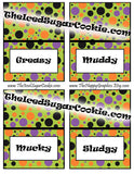 These food cards are a printable digital download for a Monster Bash birthday party, Monster Mash birthday party, Silly Monster birthday party or Fall Halloween birthday party.   You will get 1 ZIP file that includes 40 JPEG food cards that you can print and cut out yourself.  A downloadable link for your food cards will be available to you as soon as you pay.   ***We have also included 2 FREE cupcake topper templates that match.****  These food cards were created on an 8.5x11 sheet and has 4 food cards per page. Each card measures approx 3- 3/4 inch wide and 2- 1/2 inch tall after they have been folded.  Here is what your cards say:  Slime, Worms, Spiders, Slugs  Pumpkin Guts, Bats, Flies, Bugs  Hay Bales, Candy Corn, Popcorn Balls, Candy Apples  Bones, Hair, Teeth, Eyes  Frogs, Lizards, Owls, Critters  Cupcakes, Cookies, Punch, Treats  Black, Purple, Orange, Green  Crunchy, Slimy, Sticky, Slippery  Greasy, Muddy, Mucky, Sludgy  4 Blank Food Cards- to type or write your own words    Copyright (c) 2016 The Iced Sugar Cookie. All rights reserved. For personal use only. Do not sell these or give them away for free. Graphics by https://www.etsy.com/shop/thehappygraphics