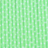 Neon Green & White Dots Paper Straws TheIcedSugarCookie.com