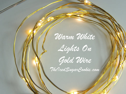 Warm White Birthday Party Lights LED Battery Operated Lights On Gold Wire Christmas Fall Wreath DIY The Iced Sugar Cookie