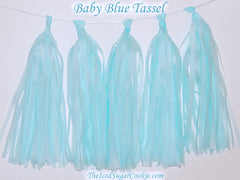 Baby Blue Tissue Paper Tassel Garland Hanging Banner DIY Birthday Party TheIcedSugarCookie.com
