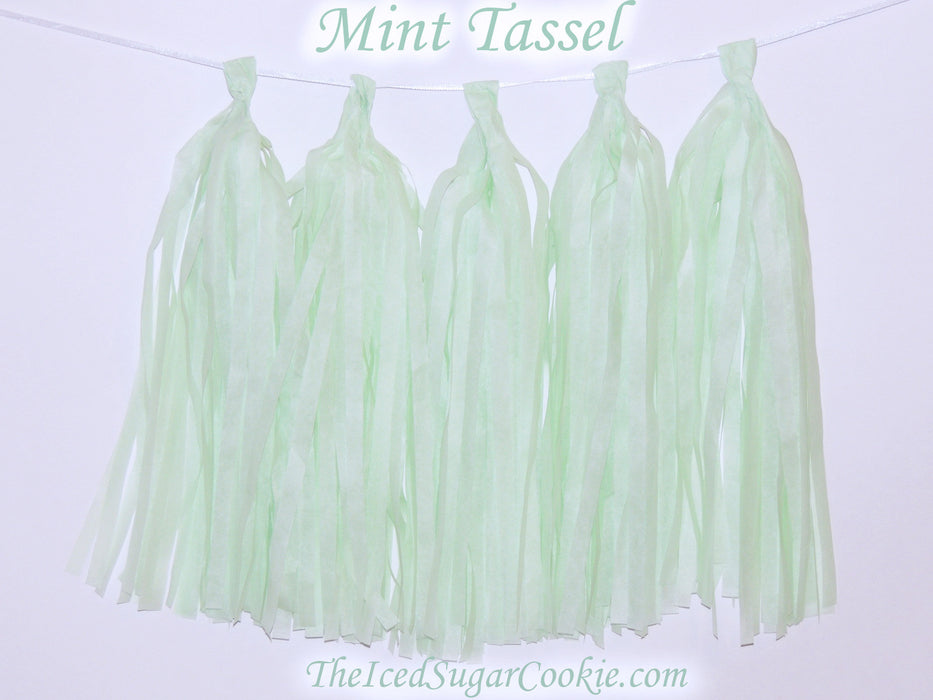 DIY Mint Green Tissue Paper Tassel Garland Birthday Party Banner TheIcedSugarCookie.com