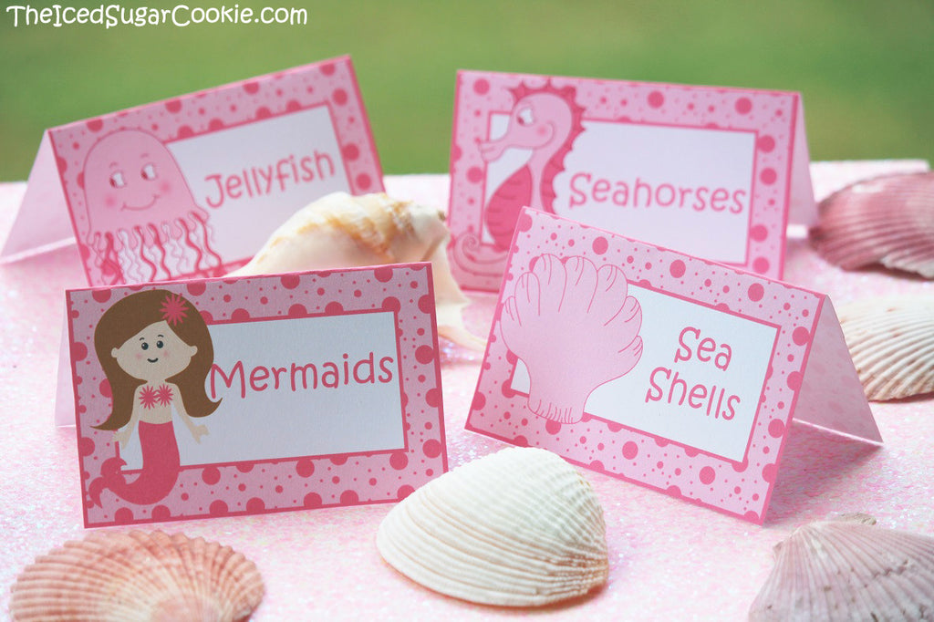 Pink Mermaid Under The Sea Food Cards-Digital Download