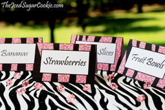 Printable Pink Glitter Zebra Food Cards