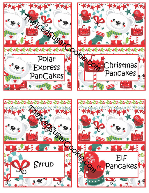 120 Printable Christmas Polar Bear Food Cards