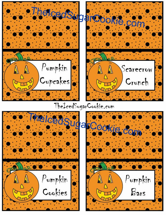 Pumpkin Food Label Tent Cards will come as a printable digital download. You must print and cut them out yourself. Pumpkin Cupcakes, Scarecrow Crunch, Pumpkin Cookies, Pumpkin Bars Pumpkin Patch, Pumpkin Drinks, Pretzel Pumpkin, Pumpkin Crunch Pumpkins, Candy Corn, Popcorn Balls, Candy Apples .Blank- to write or type your own words