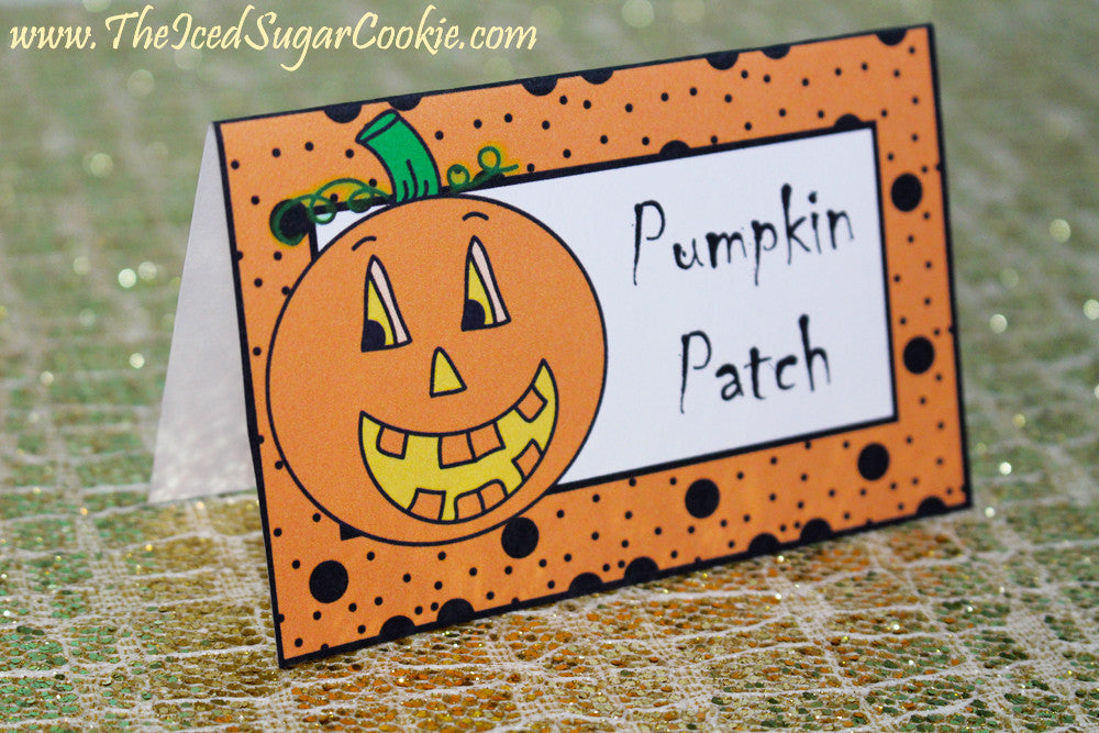 Pumpkin Food Label Tent Cards-Printable Digital Download