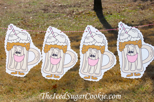 Root Beer Float Ice Cream Social Tailgate Birthday Party Printable Digital Download Flag Hanging Banner Printable