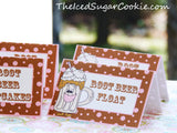Root Beer Float Social Birthday Party Food Label Tent Cards DIY Printable Template The Iced Sugar Cookie Root beer cupcakes, popcorn, cookies