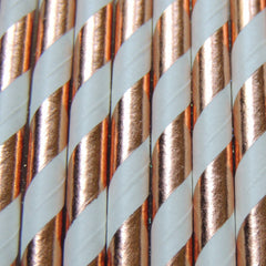 Rose Gold Copper Stripe Paper Straws-PKG of 25
