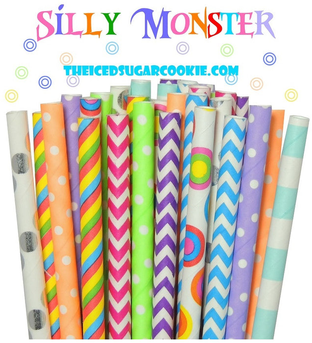 Silly Monster Birthday Party Straws TheIcedSugarCookie.com