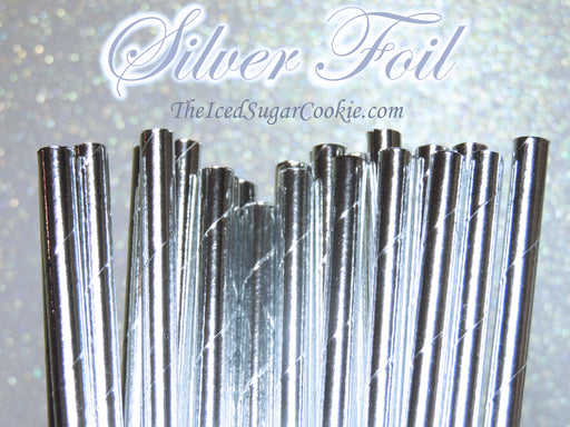 Silver Foil Paper Straws by TheIcedSugarCookie.com #silverstraws #silverpaperstraws #paperstraws