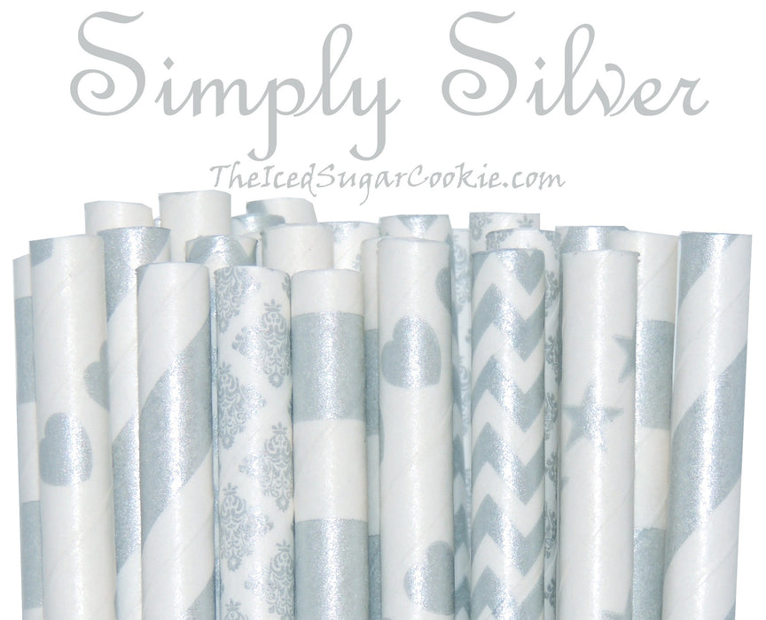 Simply Silver Paper Straws