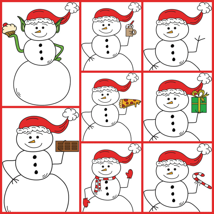 Personal and Commercial Use Clipart Christmas Snowman Set of 8