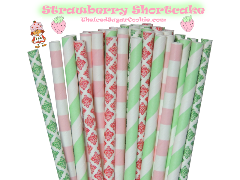 Strawberry Shortcake Paper Straws | Birthday Party | Baby Shower | The Iced Sugar Cookie | Pink and Green